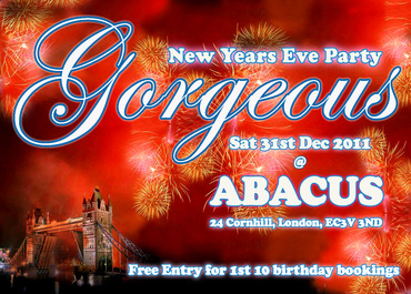GORGEOUS NEW YEARS EVE DINNER & PARTY at ABACUS in London
