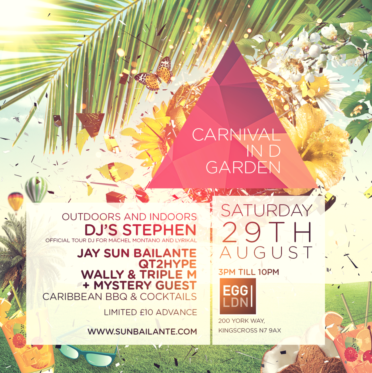 Carnival party in d garden notting hill 2015 tickets egg for Hip hop fish chicken menu