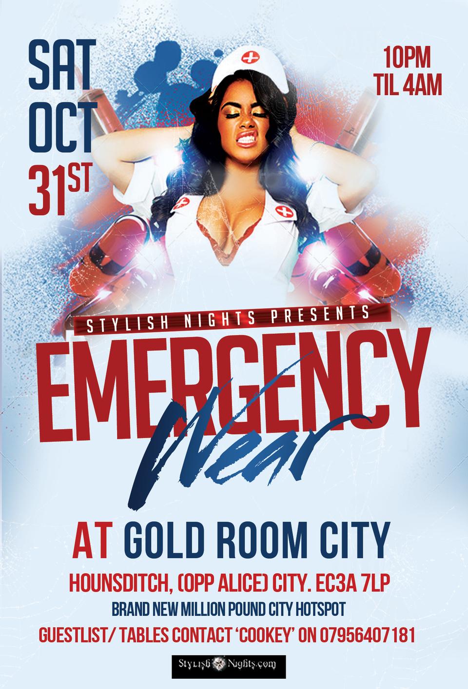 Emergency Wear Party tickets Gold Room City @ Zebrano  Shoobs.com