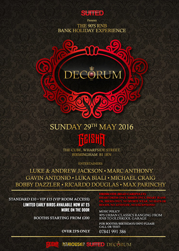 Decorum the 90 39 s rnb bank holiday experience tickets for Decorum meaning