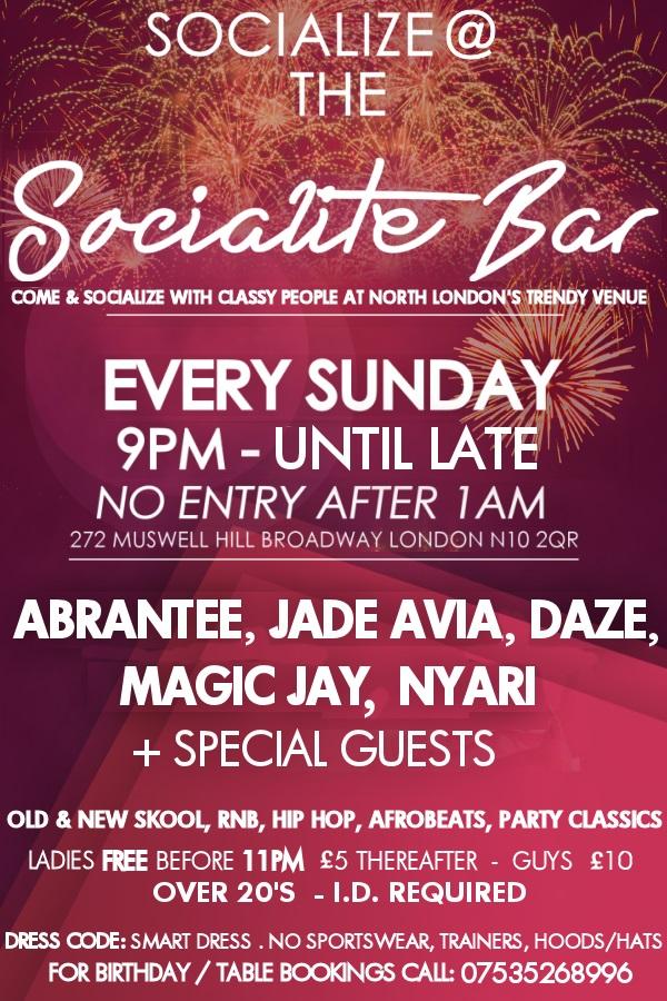 SOCIALIZE @ The Socialite bar Every Sunday