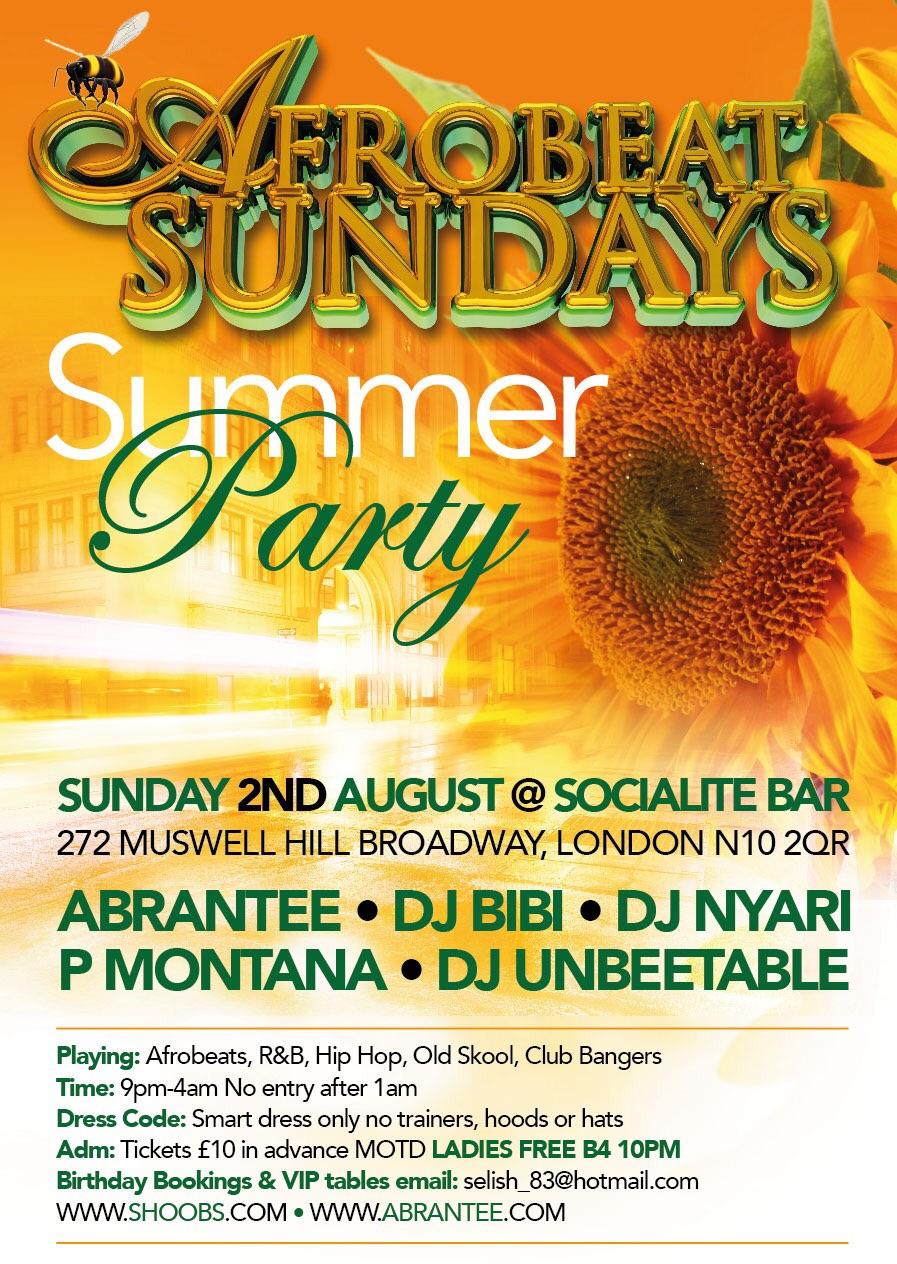 AFROBEAT SUNDAYS SUMMER PARTY