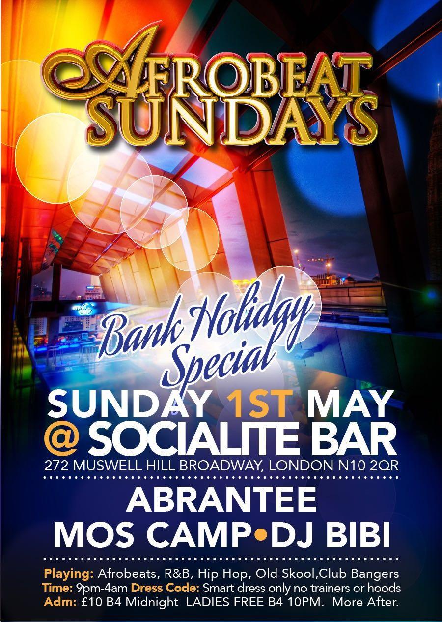 Afrobeat Sundays Bank holiday ladies FREE