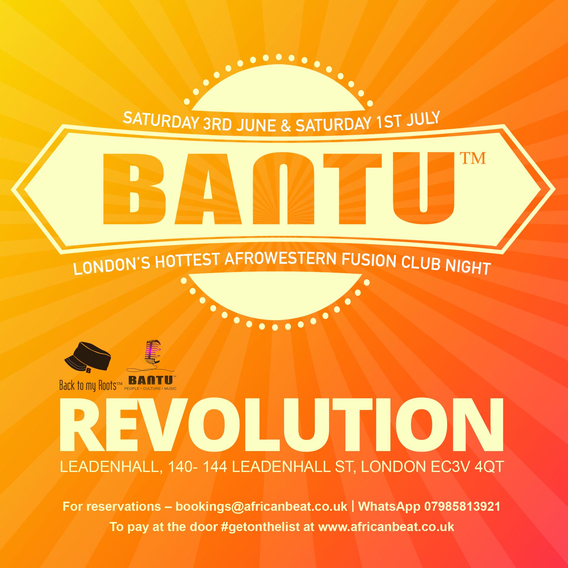 BANTU on Sat 1 July at Revolution