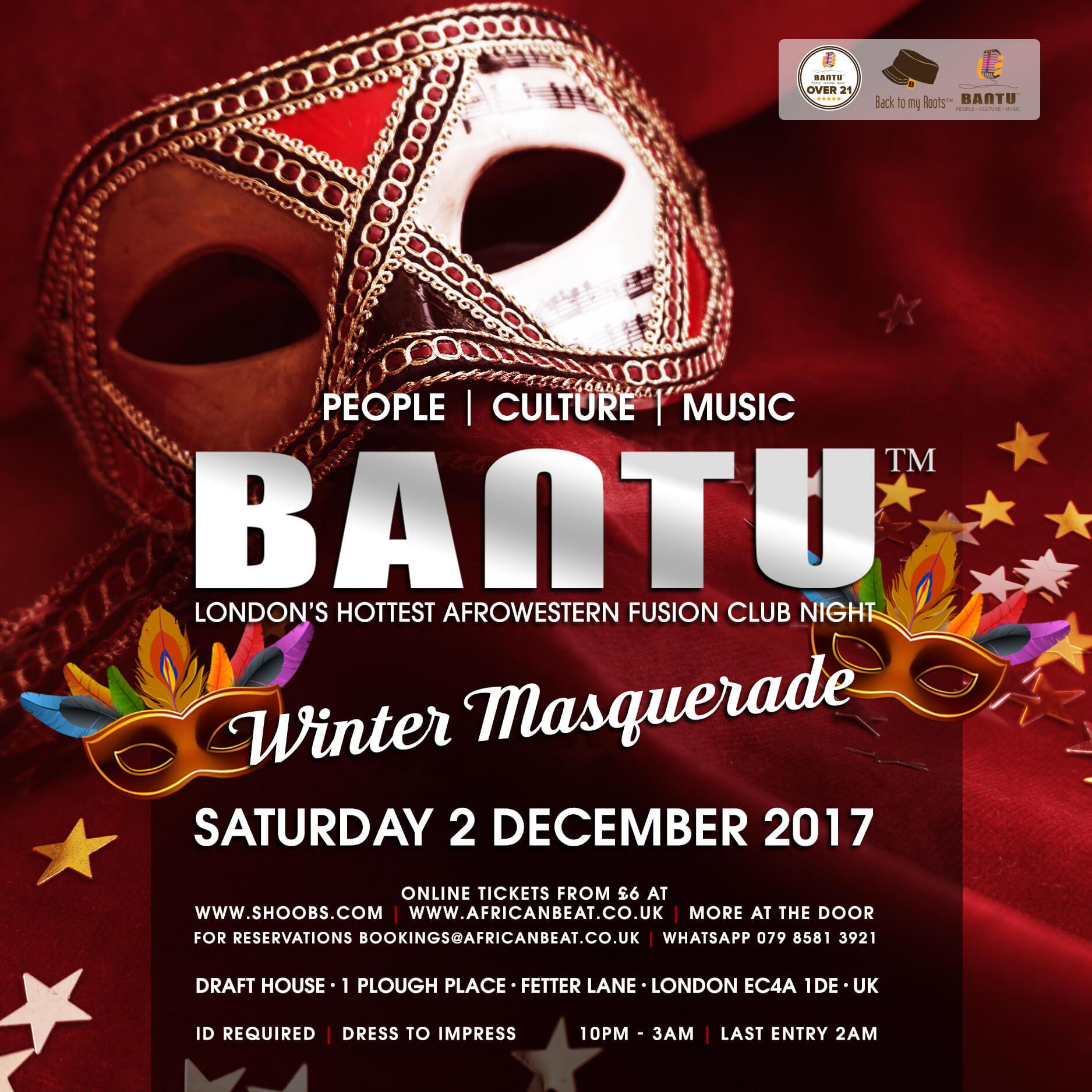BANTU Winter Masquerade on Sat 2 Dec