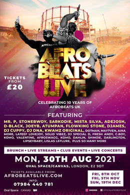 Afrobeats Live (Celebrating 10 Years) August