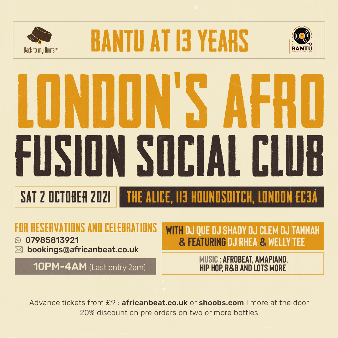 BANTU - October 2 ( Our anniversary) special ticket