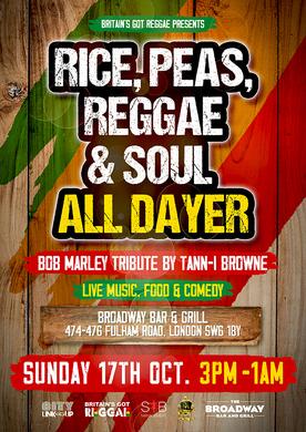 Rice, Peas, Reggae & Soul All Dayer & BoB Marley Tribute
