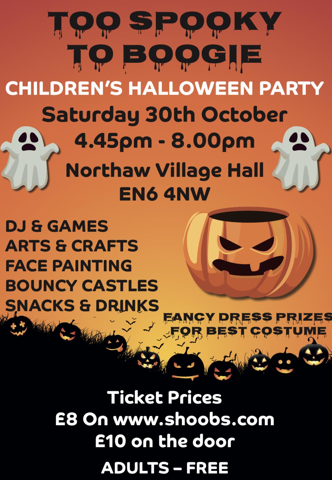 Too spooky to boogie- Children's Halloween party