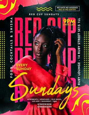 Ruby Lounge Sundays -  Red Cup