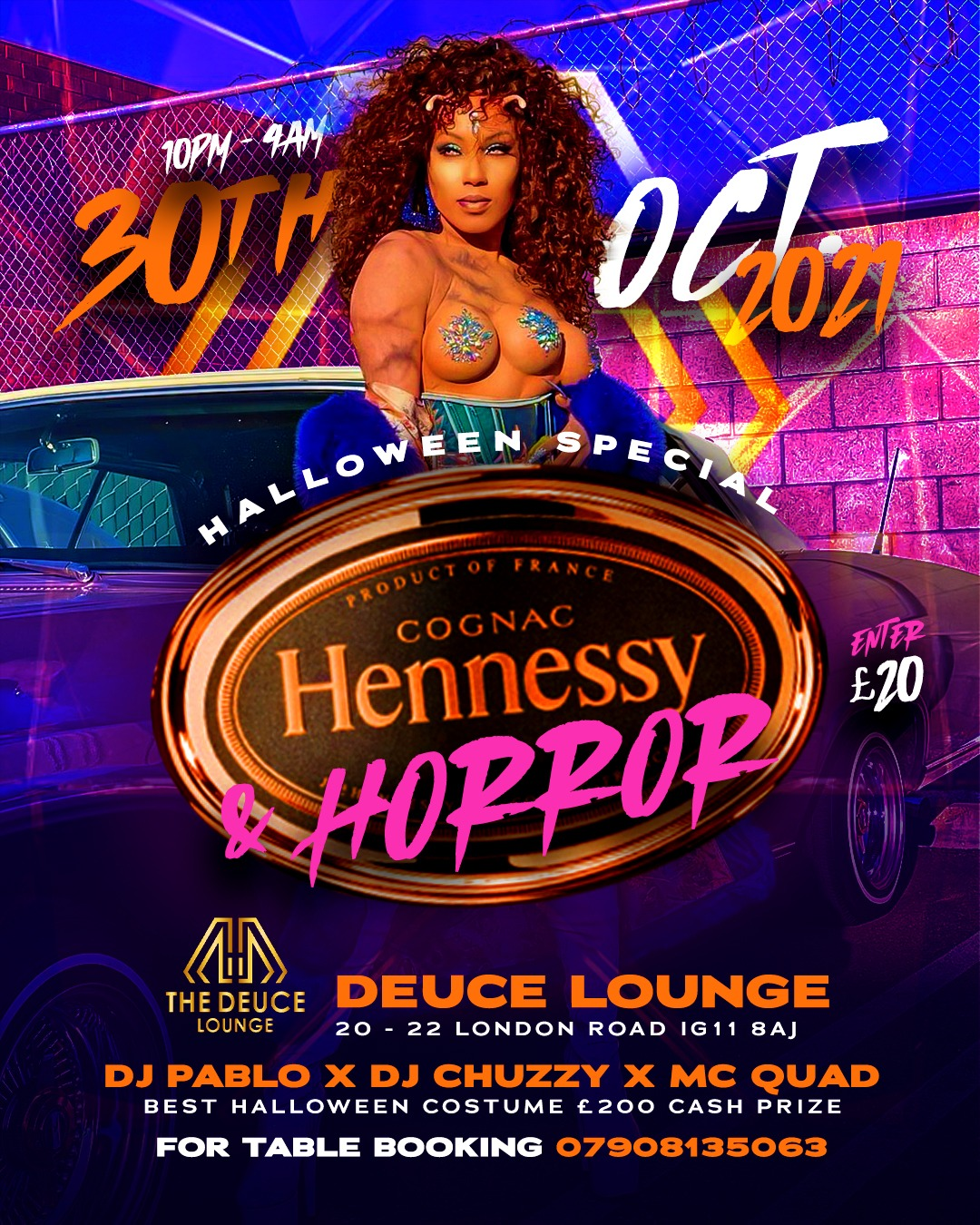 HENNESSY & HORROR HALLOWEEN SATURDAY AT DEUCE LOUNGE 30TH OF OCTOBER